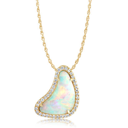 14K Yellow Gold Australian Opal/Diamond Halo Pendant | PNLOFF125150CI