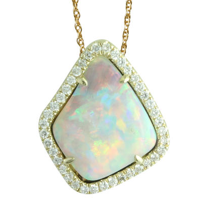 14K Yellow Gold Australian Opal/Diamond Halo Pendant | PNLOFF125215CI