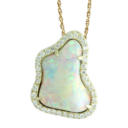 14K Yellow Gold Australian Opal/Diamond Halo Pendant | PNLOFF125294CI
