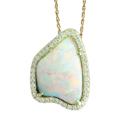 14K Yellow Gold Australian Opal/Diamond Halo Pendant | PNLOFF125314CI