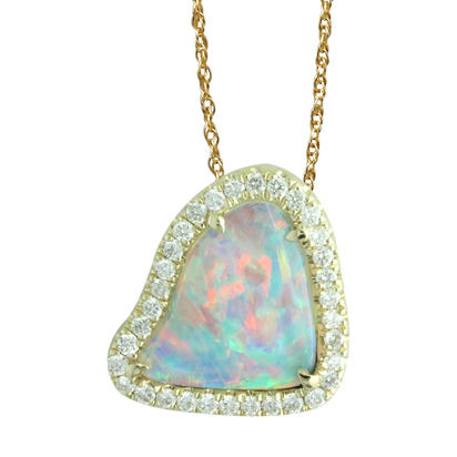 14K Yellow Gold Australian Opal/Diamond Halo Pendant | PNLOFF150078CI