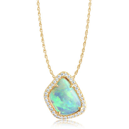 14K Yellow Gold Australian Opal/Diamond Halo Pendant | PNLOFF150087-2CI