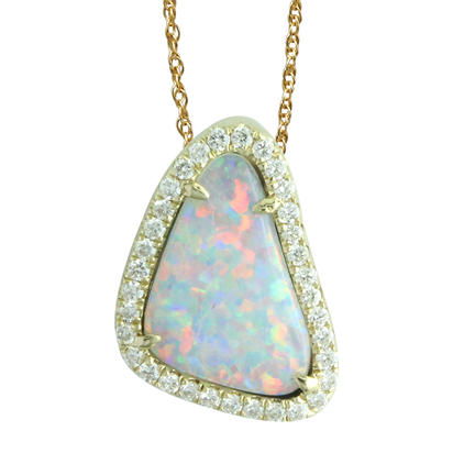 14K Yellow Gold Australian Opal/Diamond Halo Pendant | PNLOFF150088CI