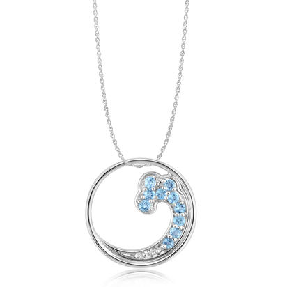 Sterling Silver Blue Topaz Wave Pendant (With Chain) | PNT038B2XSI-CH