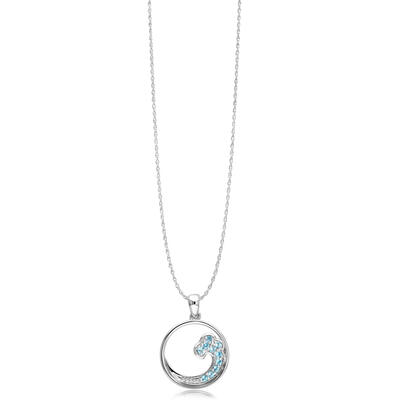 Sterling Silver Blue Topaz Wave Pendant with Chain | PNT050B2XSI-CH