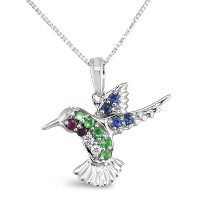 14K White Gold Ruby/Tsavorite/Green & Blue Sapphire Small Hummingbird (18x19) N' | PNT051MUXWI