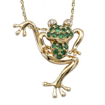 14K Yellow Gold Tsavorite/Diamond Frog Pendant | PNT052V22CI