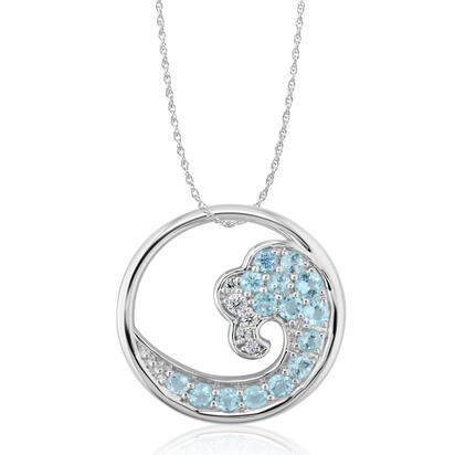 14K White Gold 20mm Paraiba Tourmaline/Diamond Wave Pendant | PNT053HP2WI