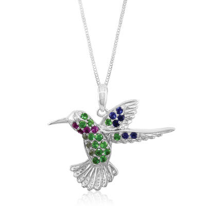14K White Gold Ruby/Tsav/Blue & Green Sap Reversible Hummingbird Pend (22x25.5) | PNTR-HBDMUWI