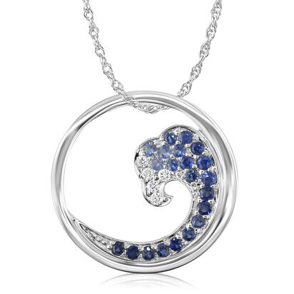 14K White Gold Graduated Blue Sapphire/Diamond Tipped Wave 20mm Pendant