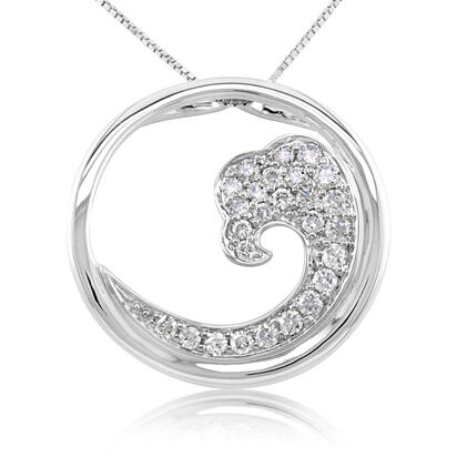 14K White Gold White Diamond Nature Wave 20mm Pendant | PNTR-WV2DWI