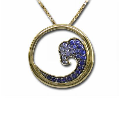 14K Yellow Gold Nature Graduated Blue Sapphire Wave 20mm Pendant | PNTR-WV2I