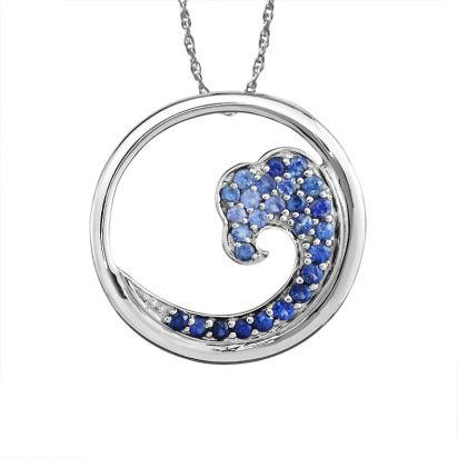 Sterling Silver Nature Graduated Blue Sapphire Wave 20mm Pendant