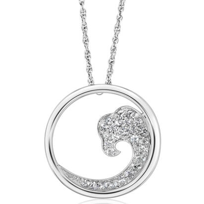 Sterling Silver Nature White Sapphire Wave 20mm Pendant | PNTR-WV2W2SI
