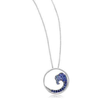 14K White Gold Nature Graduated Blue Sapphire Wave 20mm Pendant (With Chain) | PNTR-WV2WI-CH