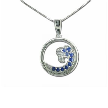 14K White Gold Nature Graduated Blue Sapphire/Diamond Tip Wave 15mm Pendant | PNTR-WV5DS1WI