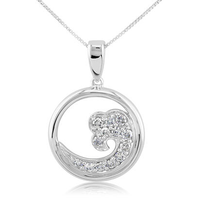 14K White Gold White Diamond Wave 15mm Pendant | PNTR-WV5DWI