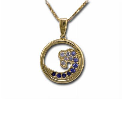 14K Yellow Gold Nature Graduated Blue Sapphire Wave 15mm Pendant | PNTR-WV5I