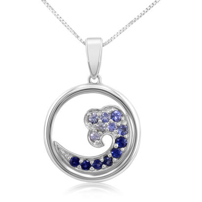14K White Gold Nature Graduated Blue Sapphire Wave 15mm Pendant (With Chain)