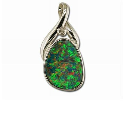 14K Yellow Gold Australian Opal/Diamond Crossover Bail Pendant | PNAT043-1I