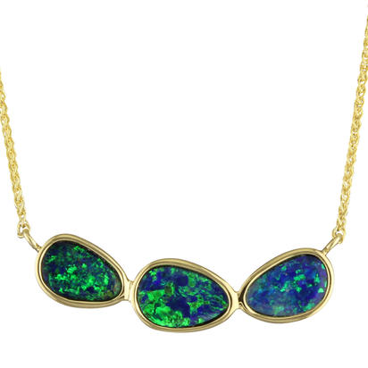 14K Yellow Gold Australian Opal Doublet Necklace