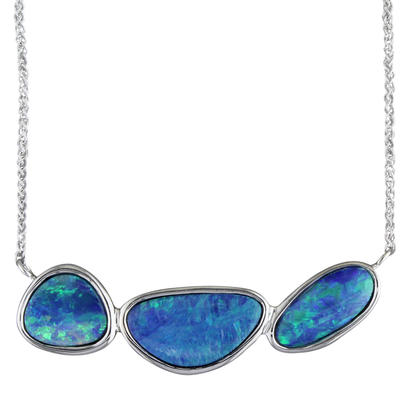 14K White Gold Australian Opal Doublet Necklace | NOD2481AXWI