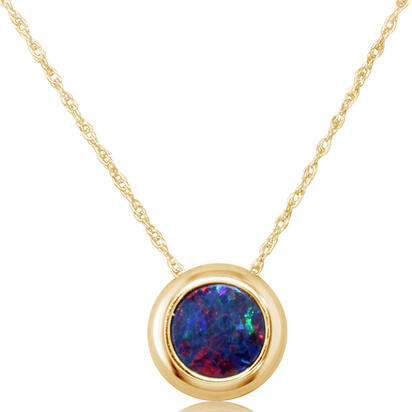 14K Yellow Gold 6mm Round Australian Opal Doublet Pendant with Chain