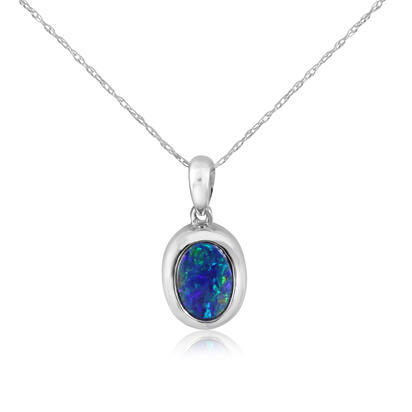 14K White Gold 5x7 Oval Australian Opal Doublet Pendant with Bail | POD267ADXWI