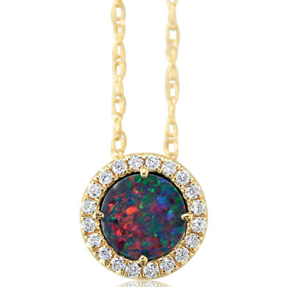 14K Yellow Gold Australian Opal Doublet/Diamond Pendant with Chain | POD291AD3CI-CH