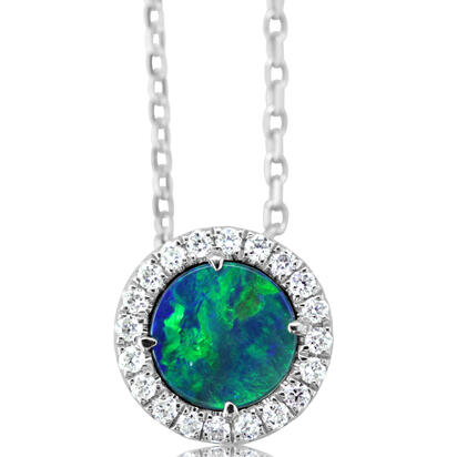 14K White Gold Australian Opal Doublet/Diamond Pendant with Chain | POD291AD3WI-CH