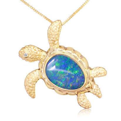 14K Yellow Gold Australian Opal Doublet/Diamond Turtle Pendant