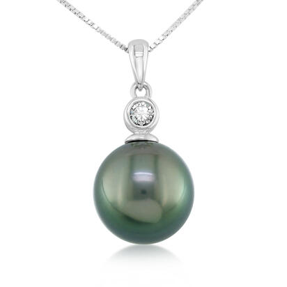 14K White Gold Tahitian Pearl 9.5mm/Diamond Bezel Pendant (With Chain)