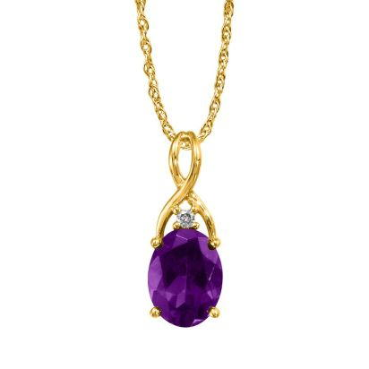 14K Yellow Gold Amethyst/Diamond Pendant (With Chain) | PPF046A22CI-CH