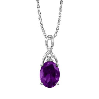 14K White Gold Amethyst/Diamond Pendant (With Chain) | PPF046A22WI-CH