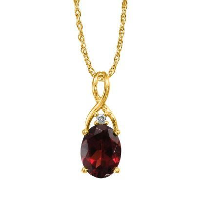 14K Yellow Gold Garnet/Diamond Pendant | PPF046G22CI