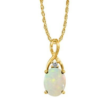 14K Yellow Gold Australian Opal/Diamond Pendant (With Chain)