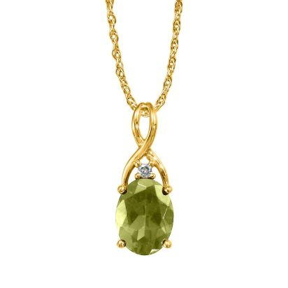 14K Yellow Gold Peridot/Diamond Pendant (With Chain) | PPF046T22CI-CH