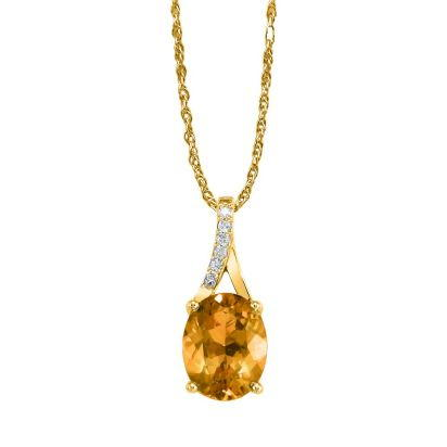 14K Yellow Gold Citrine/Diamond Pendant (With Chain) | PPF049C22CI-CH