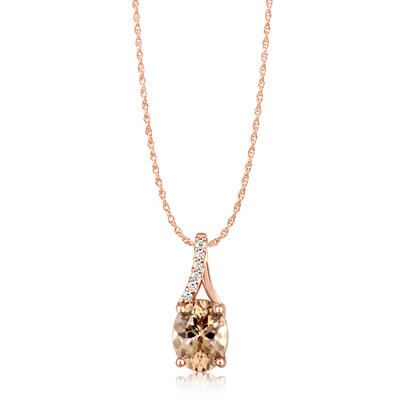 14K Rose Gold Lotus Garnet/Diamond Pendant | PPF049LG2RI