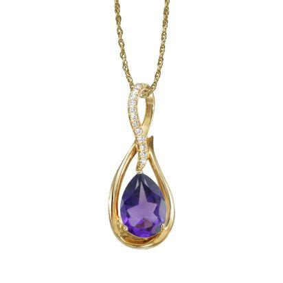 14K Yellow Gold Amethyst/Diamond Pendant (With Chain) | PPF068A22CI-CH