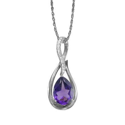 14K Rose Gold Amethyst/Diamond Pendant (With Chain) | PPF068A22RI-CH