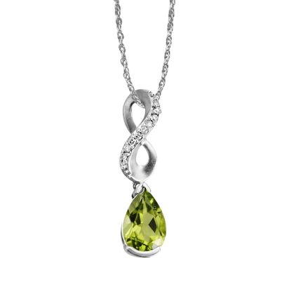 14K White Gold Peridot/Diamond Pendant with Chain | PPF069T22WI-D