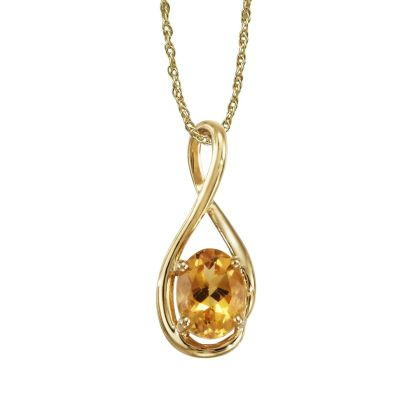 14K Yellow Gold Citrine Pendant (With Chain) | PPF071C2XCI-CH