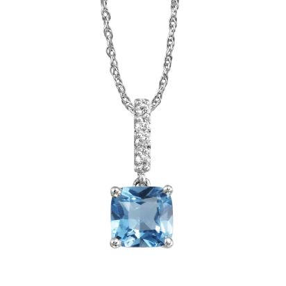 14K White Gold Blue Topaz/Diamond Pendant (With Chain) | PPF076B22WI-CH
