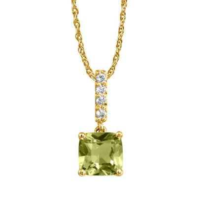 14K Yellow Gold Peridot/Diamond Pendant | PPF076TK2CI