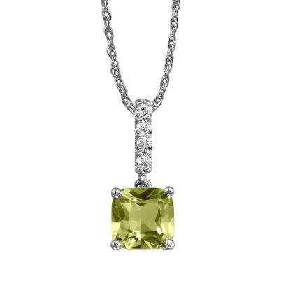 14K White Gold Peridot/Diamond Pendant