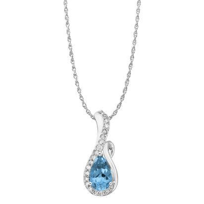 14K White Gold Blue Topaz/Diamond Pendant (with Chain) | PPF082B23WI-CH
