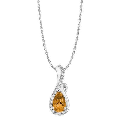14K White Gold Citrine/Diamond Pendant (with Chain) | PPF082C23WI-CH