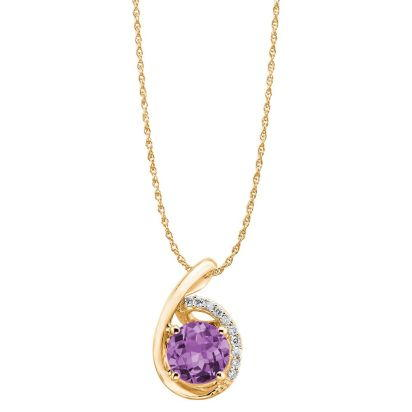 14K Yellow Gold Amethyst/Diamond Pendant (with Chain) | PPF094AC2CI-CH
