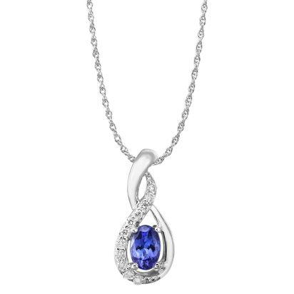 14K White Gold Tanzanite/Diamond Pendant (With Chain) | PPF095J23WI-CH